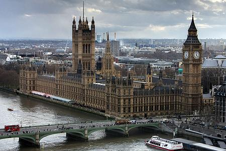 westminster, palace, london, city, london eye view, britain, landmark