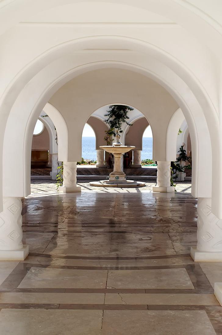 Hellas, Rhodos, Kallithea, Spa, kolonne, fontene, bygge