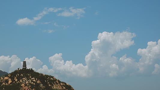 núvols, muntanya, muntanya rocosa, cel, Torre