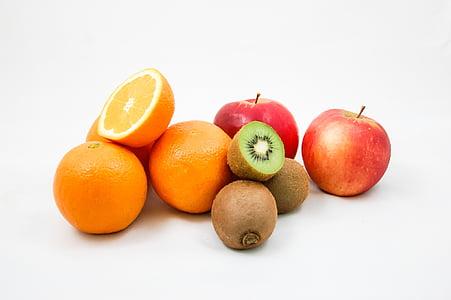 jabłka, Kiwi, pomarańcze, owoce, witaminy, połowa, pomarańczowy