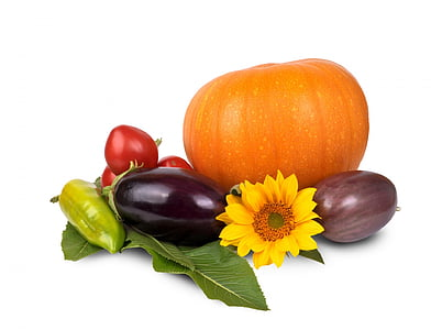 aïllats, conjunt, verdures, cistella, albergínia, pebre, tardor