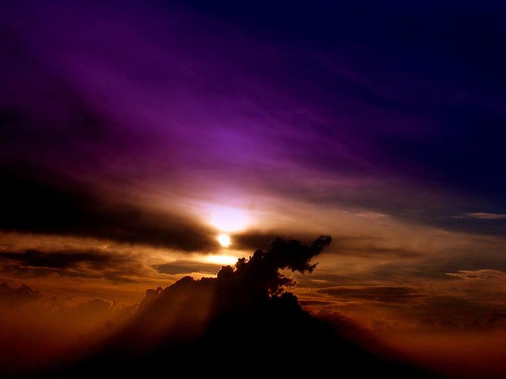 cel, núvol, posta de sol, violeta