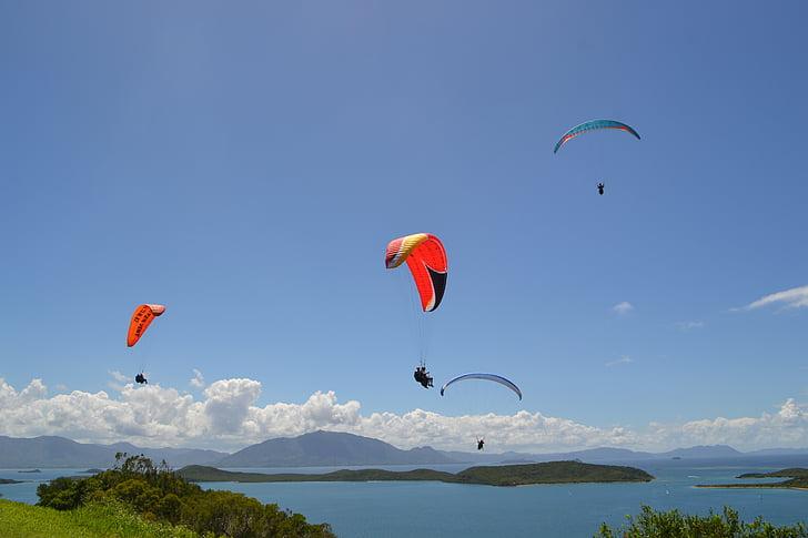 Paragliding, maastik, Ocean, Vaikse ookeani