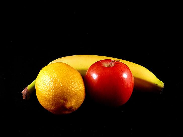 ผลไม้, มีสุขภาพดี, สุขภาพ, แอปเปิ้ล, มะนาว, กล้วย, ขนมขบเคี้ยว