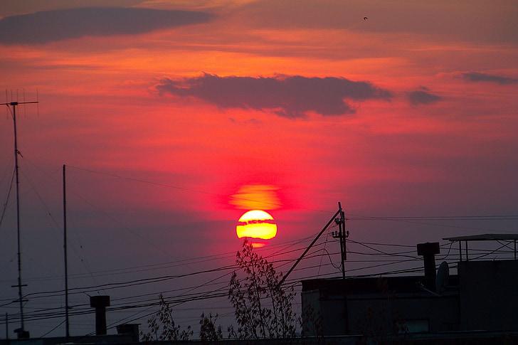 sky, evening sky, sunset, clouds
