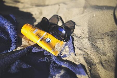 Dim, écran solaire, crème solaire, Baume, crème, plage, été