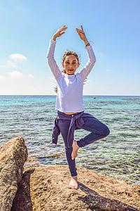 lány, tenger, Horizon, természet, gyakorlat, szabadidő, harmónia