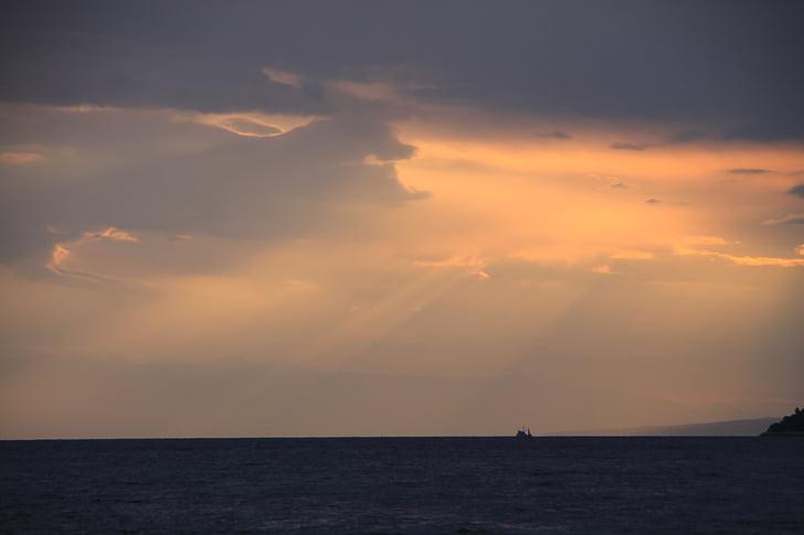 Alba, Mar, cels, oceà, atmosfèrica, sol, núvols