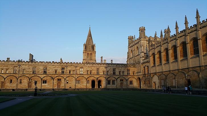 Oxford, posta de sol, Gran Bretanya, tranquil, arquitectura, renom