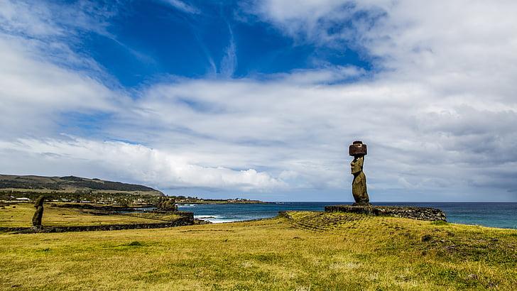 maastik, Lihavõttesaar, sinine taevas, rapa nui, Vaikse ookeani, Statue, rannajoon