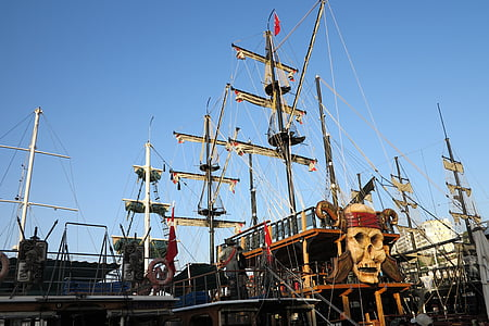 port, times, pirate ship, the sail, sky, toy, nautical Vessel