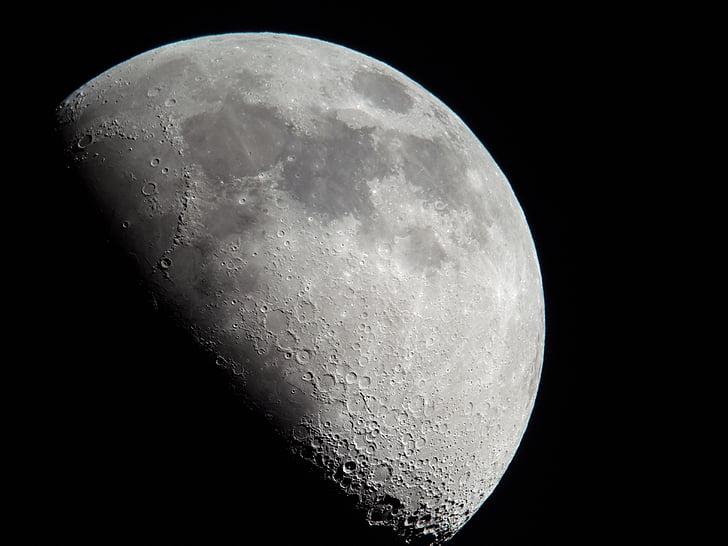 місяця половини, місяць, кратерів місяця, ніч, астрономія, поверхню місяця