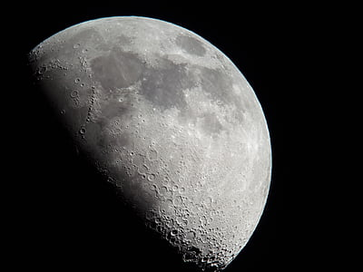 Halbmond, Mond, Mond-Krater, Nacht, Astronomie, Mondoberfläche