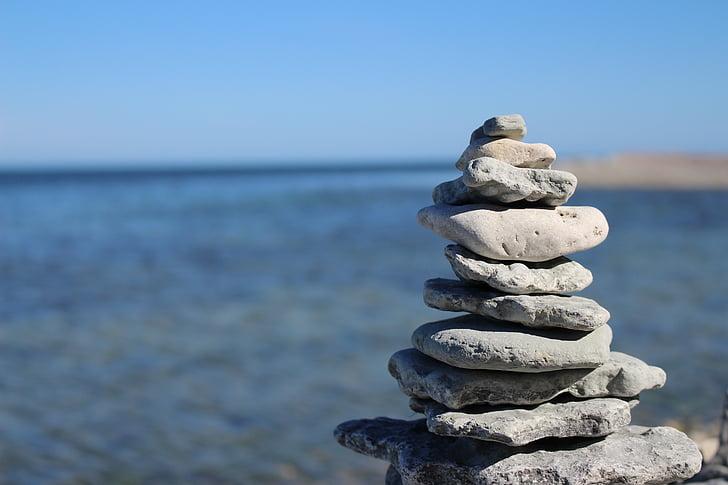 stone, tower, gotland, zen, meditation, pyramid, balance