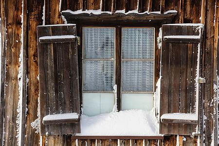 window, winter, snow, wintry, cold, snow magic, shutters