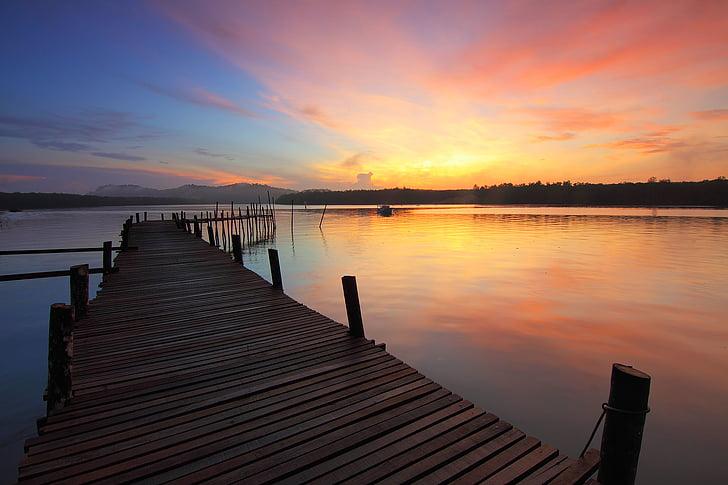 Dawn, docka, skymning, brygga, sjön, Pier, Sky