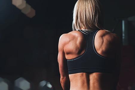 atpakaļ, kultūrisms, uzdevums, fitnesa, meitene, muskuļi, persona