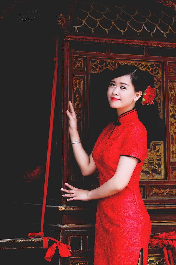 Vietnam, vietnamites, noia, jove, senyora, vermell, Àsia