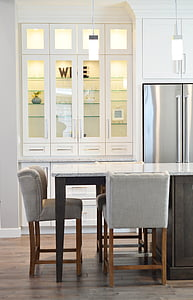 cuina, Gabinet, comptador, cadira, nevera, nevera, interior
