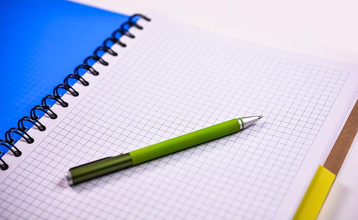 Notebook, Stift, Papier, Büro, Geschäft, Stift und Papier, weiß