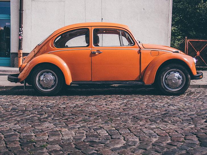 retro, car, orange, retro car, vintage, old, auto