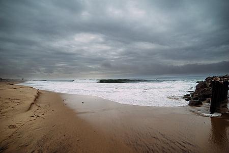 παραλία, κυματοθραύστη, βαρέλι, στη θάλασσα, Ωκεανός, Άμμος, ορίζοντα
