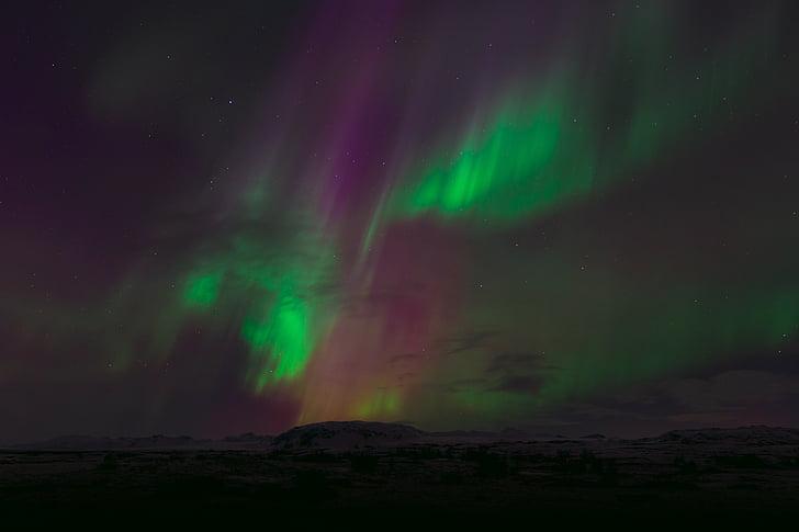 Aurora, Hills, lys, bjerge, natur, nordlys, optiske fænomener