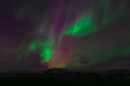 Aurora, turons, llum, muntanyes, natura, llums del nord, fenòmens òptics