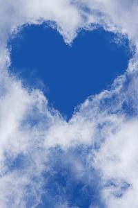 серце, небо, хмари, Синє небо, Хмара - небо, синій, cloudscape