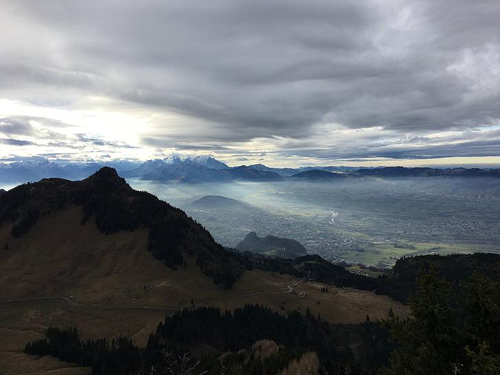 núvols, estat d'ànim, cel, paisatge, estat d'ànim trist, muntanyes