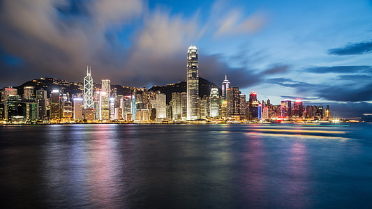 Hong kong, Xina, nit, paisatge urbà, Costa, Costa, oceà