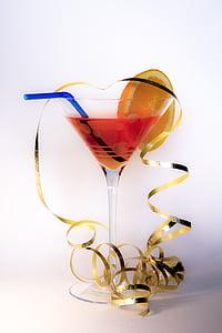 kokteil, klaas, lipsu, õled, alkoholi, jook, Martini