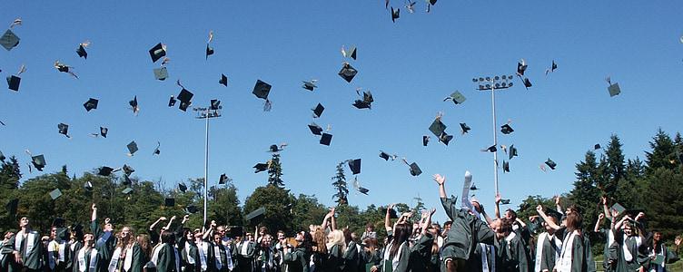 дипломирането, Teen, гимназия, студент, завършил, диплома, успех