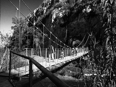 bridge, river, pendant, gateway, landscape, mountain, black and white