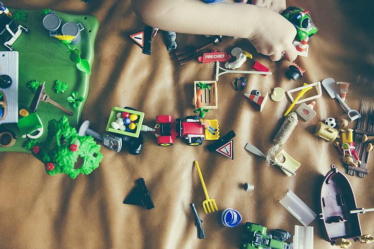 infantesa, diversió, joc, mà, nen, jugant, joguines