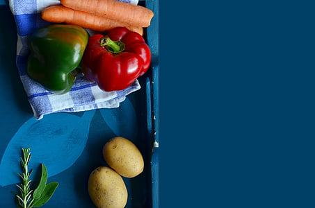 verdures, cuinar, recepta, plantilla, fons, pebre vermell, preparació