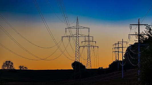 current, strommast, power poles, power line, electricity, energy, high voltage