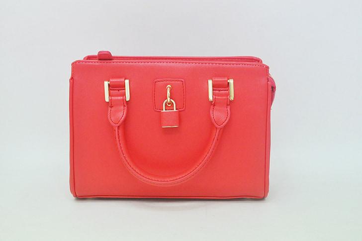 bag, crimson, product photos, padlock bag, women bags, dot white