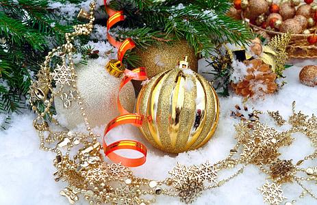 latar belakang, bola, Natal, dingin, Desember, dekorasi, dekorasi