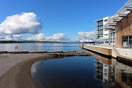Oslo, Norge, Oslofjord, City, skulpturpark, Skandinavien, tjuvholmen