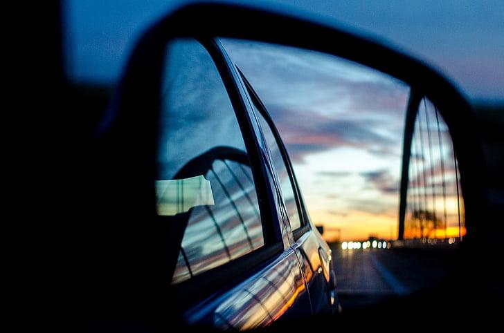 espelho traseiro, espelhos, espelho, pôr do sol, estrada, autoestrada, colorido