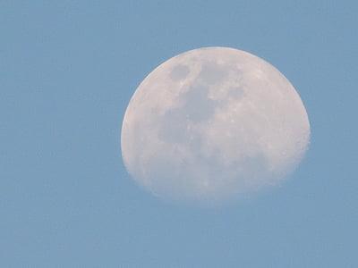 Lluna, cel, diürna, dia, la lluna de dia