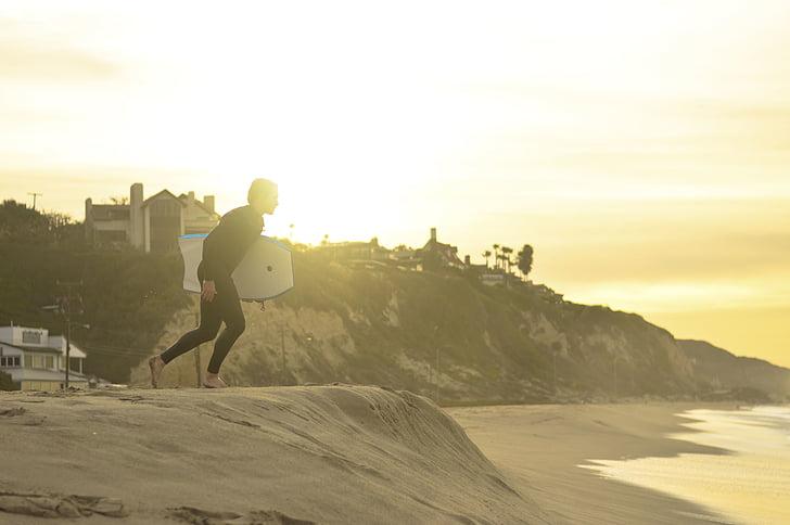 personer, mannen, Surf, vågor, Ocean, havet, stranden