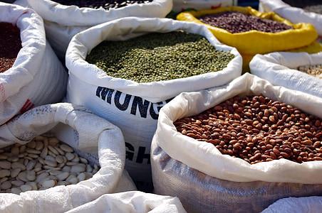 kuiv, kaupade, turu, kotid, toidu, seemne, kokk