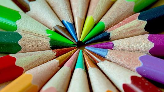 pliiatsi, Pastell, Värv, Sharp, punane, kollane, lilla