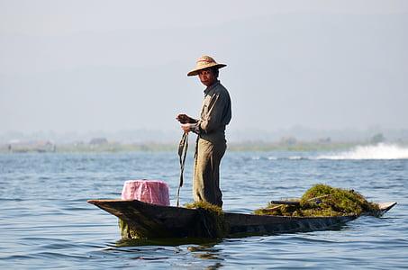 fischer, inlesee, inle lake, lake inle, bamboo basket, single-leg-rowers, myanmar