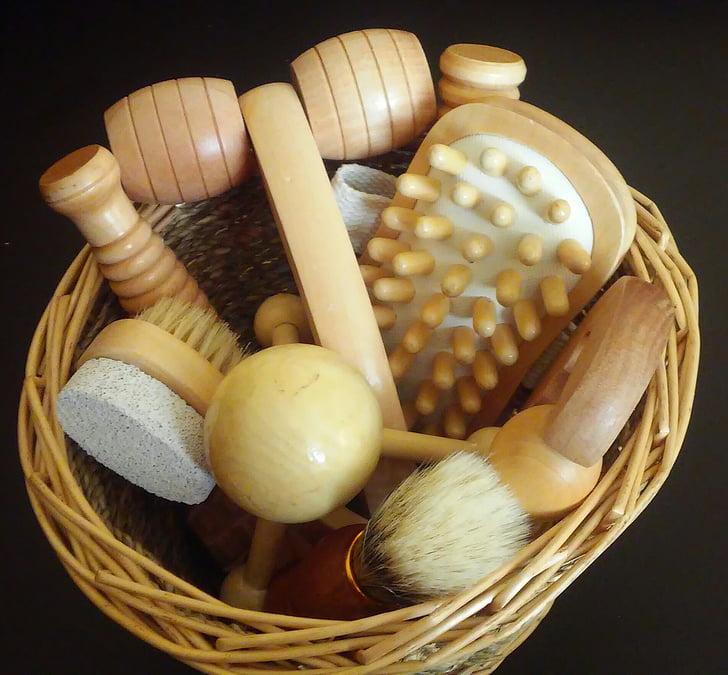 massatge, Conjunt de massatge, eines de massatge, eines, aliments, fusta - material, cistella