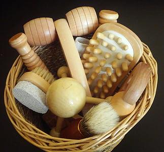 masāža, Masāžas Set, masāžas rīku, rīki, pārtika, Wood - materiāli, grozs