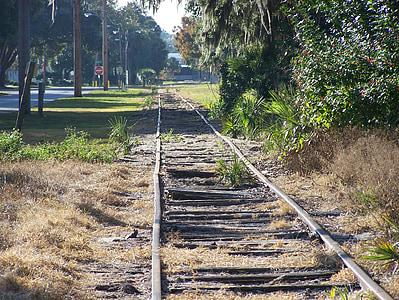 rail, way, tracks, train, perspective, railway, rail road tracks