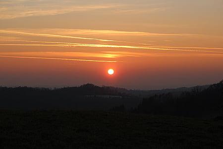 solnedgång, skymning, abendstimmung, kvällshimmel, solen, Afterglow, naturen